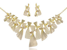 Fashion Gold Tone Contemporary Rhinestone Pendant Wedding Party Necklace Gift
