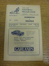 29/08/1956 programma Rugby League: Warrington V Halifax (piegato, le modifiche del Team).