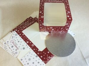 """8"""" Christmas Gateaux Clear Window Cake Boxes plus 8"""" cards - Various pack sizes"""