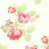 Cottage Shabby Chic Tanya Whelan Lola Roses Cotton Fabric PWTW104-White BTY