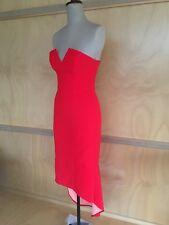 Red Evening Prom Cocktail Dress Size 8 Midi Fishtail Sweetheart Neckline