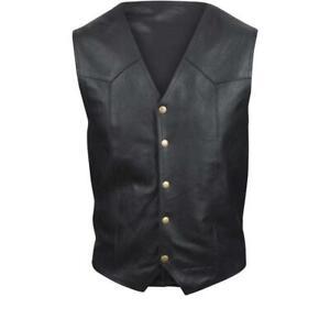 Leather Waistcoat Vintage Timeless Harley Bobber Buffalo Black Retro