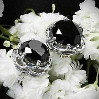 4Ct Round Black Diamond Push Back Solitaire Stud Earrings Solid 14K White Gold