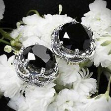 4Ct Round Brilliant Cut Black Diamond Stud Earrings Solid 14K White Gold Finish
