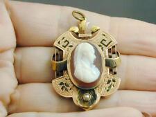 FAB Etruscan Carnelian Hard Stone Cameo Seed Pearl Black Enamel 14k Pendant