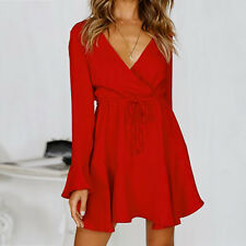 Womens V-neck Casual Mini Dress Ladies Party Evening Long Sleeve Wrap Sun Dress