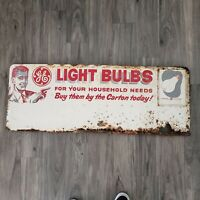 Vintage 1950s General Electric Light Bulb Advertising Tin Sign Aprox 36 x 18