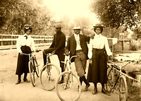 Antique AFRICAN AMERICAN Couples Bicycles Vintage Photo 1900s 4X6 Sepia Reprint