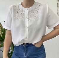 Vintage White Blouse Cut Out Floral Design Sz Cute Pretty Cottagecore M/L