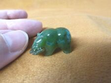 (Y-BEA-513) little green Canadian Jade Bear with fish gemstone FIGURINE carving