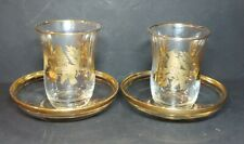 Turkish Arabic Tea Coffee Set Glass Cup & Saucer Set Of 2 Gold Made In Turkey