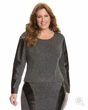 Lane Bryant Tweed Top TUNIC Gray Black Leather  PLUS Size 22 3X NWT REG $59.95