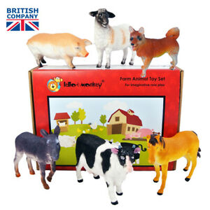 Large Farm Animals Plastic Toy Figures set of 6 from UK importer, ebay