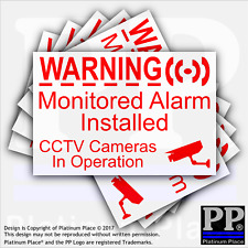 6 x Monitored Alarm Installed and CCTV Camera RED/WHITE Security Warning Sticker