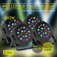 4 PCS LED PAR STAGE LIGHT 6 CHANNELS 54W DMX PAR64 18*3 MINI CAN