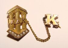 10K Gold & Seed Pearl Alpha Delta Kappa Sweater Lapel Pin Vintage K SORORITY
