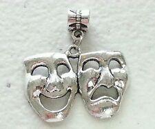 "Drama Mask Silver Charm-European Bail-3/4""H X 1 1/4""W-Unbranded-Art- Theater"