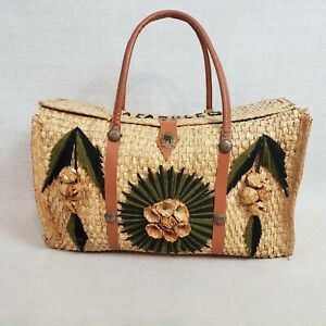 Straw Travel Carpet Bag Leather Strap Woven Souvenir Tote Carry On Rattan Rustic
