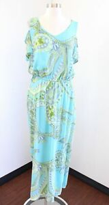 Chicos Blue Green Paisley Print Sienna Cold Shoulder Maxi Dress Size 2 V Neck