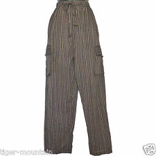Hippy Casual Unisex Baggy Cotton Trousers in Black Stripes & cargo side pockets