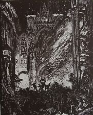 BRANGWYN FRANCK ( 1867-1956) : L'incendie. Bois original. Byblis ,1924
