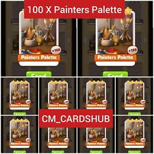 100 x Painters Palette Coin Master Cards + Any 25 Cards ( Get in Just 5 min )