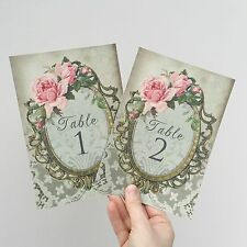 Wedding Table Numbers Pretty Pink Vintage Style. Names Cards - Roses Shabby Chic