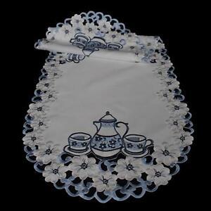 Tischdecke Tischläufer Mitteldecke Deckchen Deko Blau Weiß Kaffee Motiven Sticke