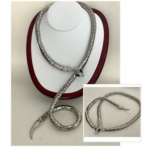 """Vintage Jewellery Silver Tone Long Mesh Snake Necklace With Black Eyes 36"""""""