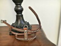 Vintage NOS-Brown Leather Studded Studs  SMALL DOG Harness -FREE SHIPPING