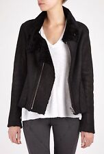 NWOT HELMUT LANG  $891 BLACK DENIM  SHEARLING  LEATHER  MOTO JACKET P OR XS