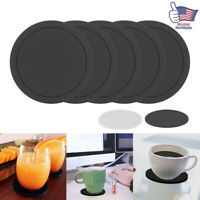 5x Round Silicone Insulation Coffee Drink Coaster Cup Mug Glass Beverage Pad Mat