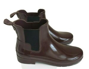 Hunter Refined Chelsea Gloss ankle rain boots Sz 38/7 Wine Color Rubber