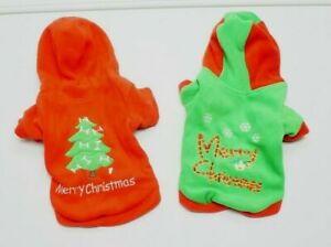 "NEW Merry Christmas XS 4-7 lbs 9"" Fleece Christmas Tree Dog Hoodie NEW"