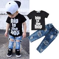 Newborn Toddler Kids Baby Boys Clothes T Shirt Tee Tops+Denim Pants Outfits Set
