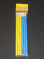 6 Bleistifte mit Radiergummi, 1 Set, blau & gelb, 19 cm, Schule, Büro, NEU & OVP