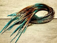 Feather hair extensions black iced ombre grizzly X LONG premium quality beads