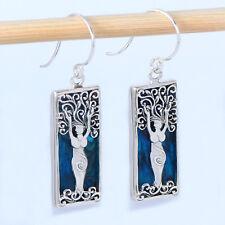 Goddess Tree of Life Earrings Blue Abalone Sterling Silver
