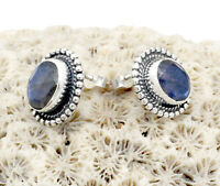 Natural Labradorite Solid 925 Sterling Silver Gemstone Jewelry Stud Earring S-1'