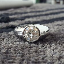 3 Carat Round Moissanite Man's Engagement Wedding Ring 925 Sterling Silver