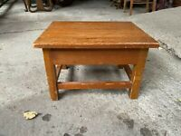 Vintage Small Solid Teak Footstool Children's Stool