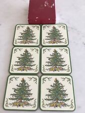 Spode Christmas Tree Square Cork Backed Coasters, Set of 6 Pimpernel