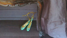 Les Nereides mint green ballerina ballet pointe shoes gold plated earrings