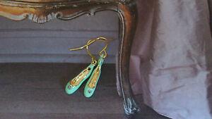 Les Nereides mint green ballerina ballet pointe shoes gold plated earrings