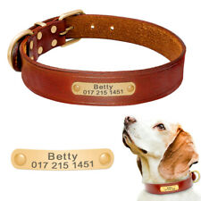 Personalized Dog Leather Collar Custom ID Nameplate Engraved for Small Large Dog