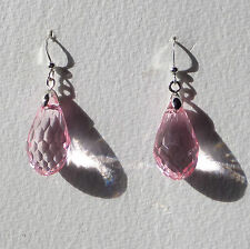 FACETED pink ACRYLIC CRYSTAL BRIOLETTE TEARDROP SILVER PLATE DROP EARRINGS