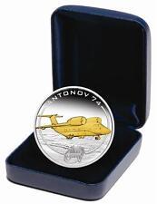 Cook Islands 2008 1$ Antonov An 74 24K GOLD Gilded Proof 1Oz .999 Silver Coin