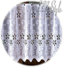 White Kitchen Cafe Net Curtain Sold by the metre Ready made HEMMED EDGES