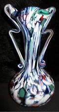 "Beautiful Murano Style Art Glass Vase ""End of the Day"" 2 Applied Handle 5"""