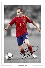 Andrés Iniesta España autógrafo firmado Foto Impreso España Autografo Soccer